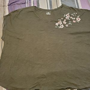 Lane Bryant embroidered olive green t-shirt